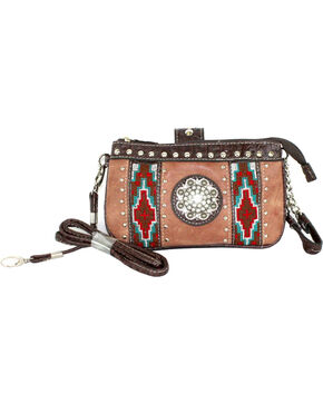 Savana Tan Aztec Medallion Crossbody and Wristlet , Tan, hi-res