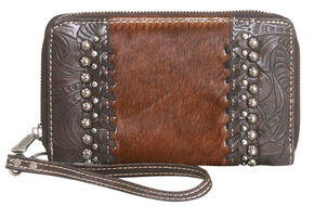 Montana West Trinity Ranch Tooled Wallet with Cowhide, Dark Brown, hi-res