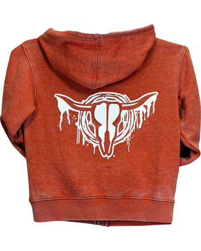 Cowboy Hardware Toddler Boys' Drip Skull Zippered Sweatshirt (6MO-4T), Orange, hi-res