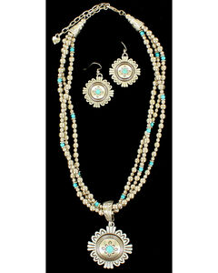Blazin Roxx Three Strand Medallion Turquoise Necklace & Earrings Set, , hi-res