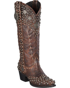 Lane for Double D Ranch Silver Trader Studded Cowgirl Boots - Snip Toe, Brown, hi-res