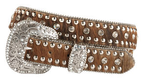 Nocona Rhinestone Hair On Hide Western Belt, Brown Multi, hi-res