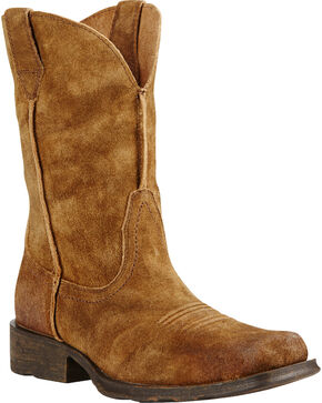 Ariat Urban Rambler Antique Suede Cowboy Boots - Square Toe, Mocha, hi-res