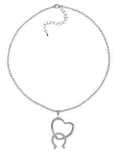 Montana Silversmiths Cubic Zirconia Heart & Horseshoe Necklace, , hi-res