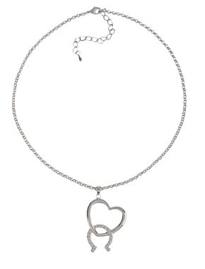 Montana Silversmiths Cubic Zirconia Heart & Horseshoe Necklace, Silver, hi-res
