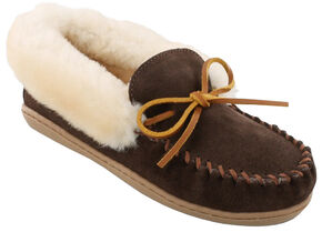 Minnetonka Women's Alpine Sheepskin Moccasins, Chocolate, hi-res