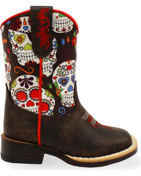 Blazin Roxx Toddler Girls' Destiny Sugar Skull Boots - Square Toe , Brown, hi-res