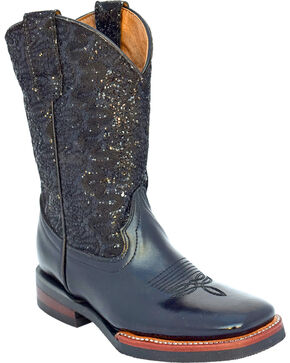 Ferrini Girls' Cowhide Lace Glitter Western Boots - Square Toe, Black, hi-res
