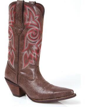 Durango Women's Crush Crackle Cowgirl Boots - Snip Toe, Brown, hi-res