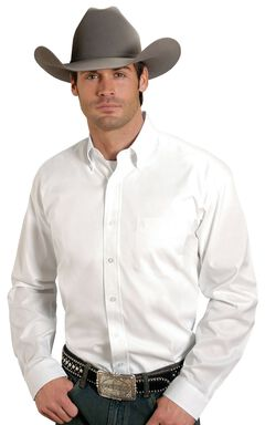 Stetson Solid Button Oxford Shirt, White, hi-res