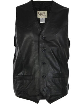 Cripple Creek Men's Lambskin Button Front Vest, Black, hi-res