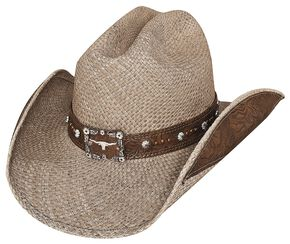 Bullhide Way of Life Shantung Panama Straw Cowboy Hat, Tea, hi-res
