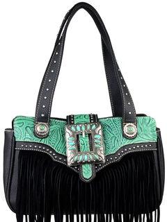 Montana West Trinity Ranch Black Fringe Design Handbag, , hi-res