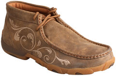 Twisted X Women's Embroidered Brown Lace-Up Driving Mocs, , hi-res