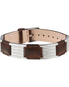 Sabona of London Brown Leather Dress Stainless Magnetic Bracelet, , hi-res