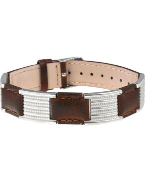 Sabona of London Brown Leather Dress Stainless Magnetic Bracelet, Brown, hi-res
