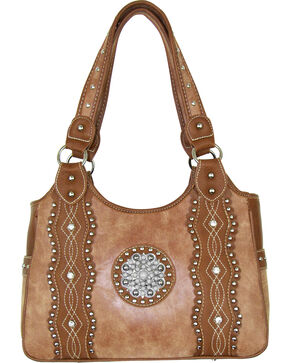 Savana Tan Silver Conco Concealed Carry Handbag, Tan, hi-res