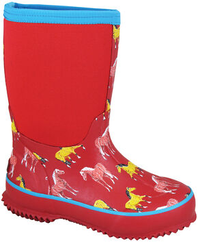 Smoky Mountain Girls' Horsin' Around Waterproof Boots, Red, hi-res