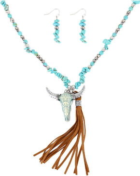 Shyanne Women's Turquoise Skull and Fringe Jewelry Set , Turquoise, hi-res