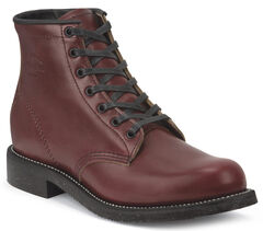 """Chippewa Men's Limited Edition 6"""" Lace-Up Oxblood Service Boots - Round Toe, , hi-res"""