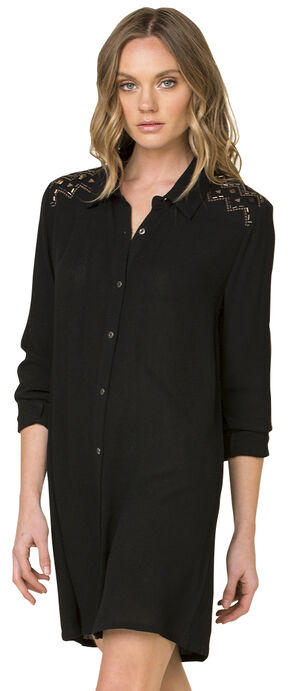 Miss Me Women's Black Forbidden Path Shirt Dress , Black, hi-res