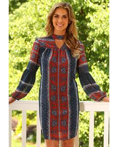 Wrangler Women's Floral Print Peasant Sleeve Dress, , hi-res