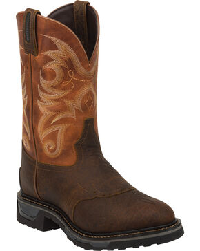 Tony Lama Sierra Badlands Waterproof TLX Performance Western Work Boots - Round Toe, Brown, hi-res