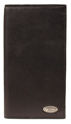 Nocona Logo Concho Checkbook Wallet, Black, hi-res