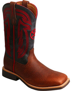 Hooey by Twisted X Youth Boys' Brown with Red Embroidery Boots - Square Toe , , hi-res