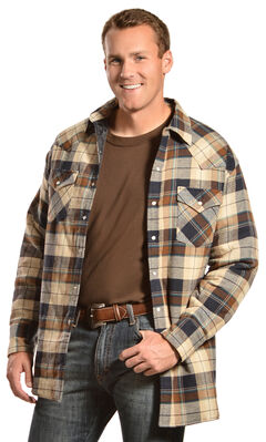 Ely Cattleman Men's Brown Plaid Quilted Flannel Jacket Shirt , , hi-res