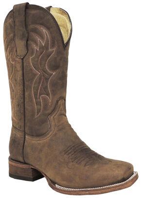 Circle G Men's Brown Basic Boots - Medium Toe , Brown, hi-res