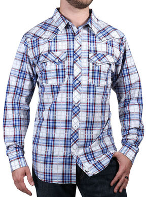 Cody James Men's Trapper's Tail Plaid Western Shirt, White, hi-res