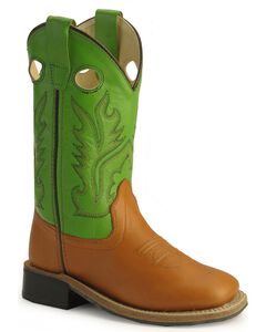 Old West Childrens' Corona Calfskin Cowboy Boots - Square Toe , , hi-res