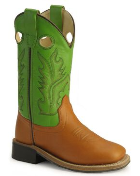 Old West Childrens' Corona Calfskin Cowboy Boots - Square Toe , Cognac, hi-res