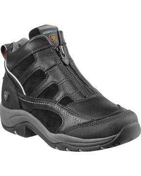 Ariat Women's Waterproof Terrain Zip-Up Shoes, Black, hi-res