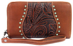 Montana West Trinity Ranch Brown Tooled Design Wallet, , hi-res