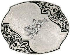 Montana Silversmiths Lace Whisper Flourish Bullrider Western Belt Buckle, , hi-res
