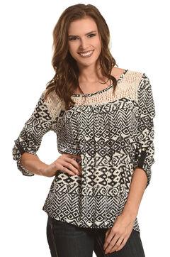 Panhandle Slim Women's Black Diamond Print Lace Peasant Top , , hi-res