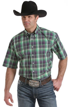 Cinch Men's Multi One Pocket Short Sleeve Plaid Shirt, Multi, hi-res