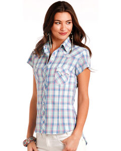 Panhandle Women's Plaid Short Sleeve Shirt, Green, hi-res