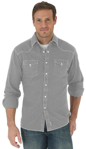 Wrangler Retro® Men's Charcoal Grey Double Pocket Long Sleeve Shirt , Charcoal Grey, hi-res