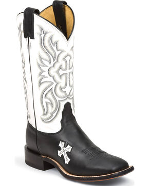 Tony Lama Women's Royal Black Cow San Saba White Top Western Boots - Square Toe, Black, hi-res