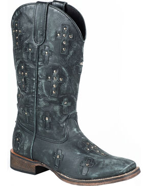 Roper Black Sanded Cross Cowgirl Boots - Square Toe, Black, hi-res
