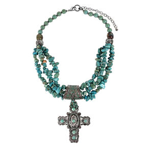 Treska Women's Cowtown Cross Pendant Beaded Necklace , Turquoise, hi-res