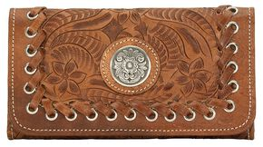 American West Harvest Moon Tri-Fold Leather Wallet, Saddle Tan, hi-res