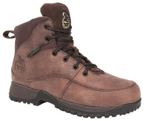 Georgia Boots Women's Riverdale Waterproof Work Boots - Steel Toe, Dark Brown, hi-res