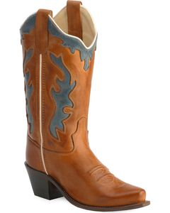 Old West Children's Leather Inlay Cowboy Boots - Snip Toe, , hi-res