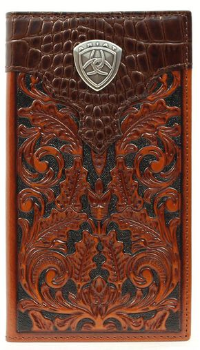 Ariat Croc Print Overlay Tooled Rodeo Wallet, Tan, hi-res