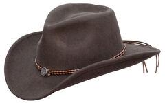 Jack Daniel's Twisted Leather Bend-A-Brim Wool Felt Crushable Cowboy Hat, , hi-res