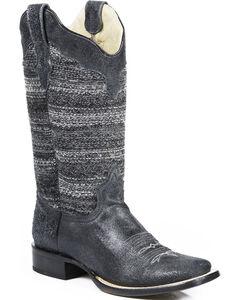 Roper Black Fabric Vintage Stripe Cowgirl Boots - Square Toe , , hi-res